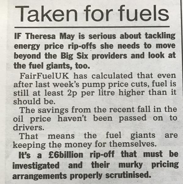 The Sun Covers FairFuelUK in its editorial comment